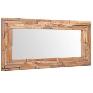 vidaXL Dekorativer Spiegel Teak 120 x 60 cm Rechteckig