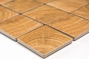 Handmuster Mosaikfliese Holzoptik wooden Keramik beige braun Fliesenspiegel MOS16-1304_m