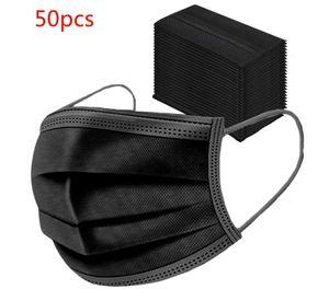 50x Zodight Mundschutz Maske 3-lagig Hygienemaske Atemschutz Einweg Schutzmaske Gummiband Schwarz