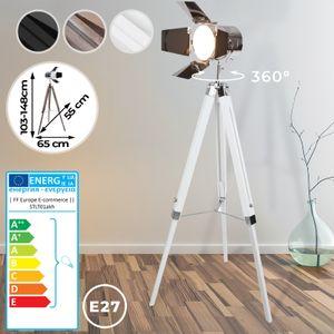Jago® Stehlampe mit Stativ aus Holz - EEK: A++ bis E, LED, E27, Höhe max. 148 cm, Vintage, Weiß Matt - Tripod Lampe, Dreifuss Stehleuchte, Standleuchte, Studiolampe