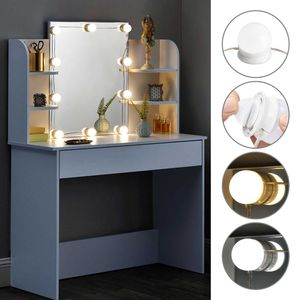 Juskys Schminktisch Bella mit LED-Beleuchtung, Spiegel, Schublade und Fächern | weiß | modern | MDF Holz | Frisiertisch Kosmetiktisch Kommode