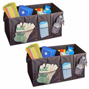 2er Set Auto Kofferraumtasche 66x34x34 cm Schwarz Kofferraum Klappbox Organizer KFZ Aufbewahrung Tasche Box Autotasche Einkaufsbox Transportbox Faltbox