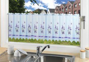 Fensterbild Bistro-Gardine Lavendel Vorhang Fenster