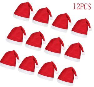 12 Stück Weihnachtsmützen Nikolausmützen für Erwachsene und Kinder