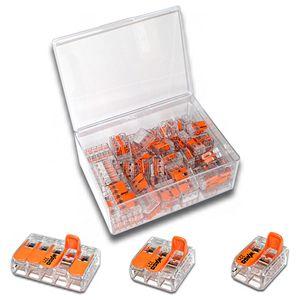 WAGO Box mit 80 Stück Verbindungsklemmen   Serie 221 Hebelklemme   Box Set Verbindungsklemme