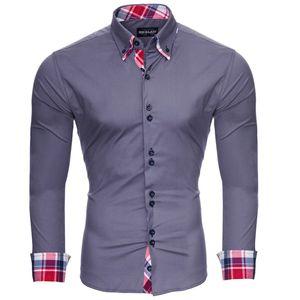 Reslad Herren Hemd Button-Down Slim Fit Kontrast Langarmhemd RS-7015 Anthrazit XL