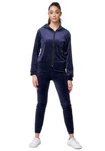 Damen Nicki Sportanzug Soft Gefütterter Velours Trainingsanzug Cozy Hoodie Set Stretch Bund Hose, Farben:Blau, Größe:S-M