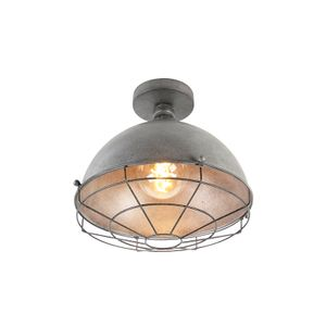 QAZQA - Industrie | Industrial Industrie | Industrial Deckenleuchte | Deckenlampe | Lampe | Leuchte Antik Silber 32 cm - Kurs | Wohnzimmer | Schlafzimmer | Küche - Stahl Rund | Andere - LED geeignet E27