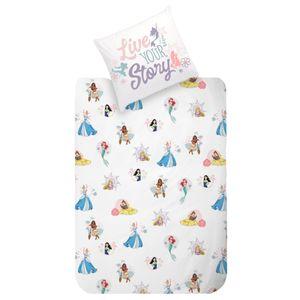 Disney Prinzessin Kinder-Bettwäsche 80x80 + 135x200 cm · Arielle, Vaiana, Mulan, Belle, Rapunzel, Cinderella · 100% Baumwolle