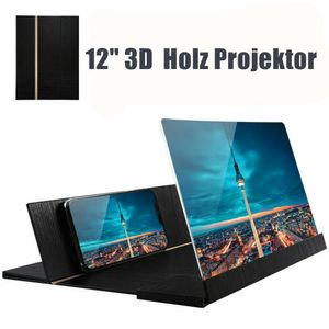 "12"" Handy 3D Bildschirm Lupe Smartphone Holz Vergrößerungslupe Projektor"