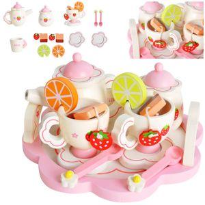 Kinder Teeservice Set Holz  Zubehör für die Kinderküche, 16-tlg. ab 3 Jahre Rollenspiele Für Mädchen und Jungs 9418