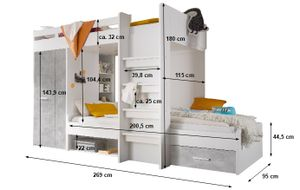 Etagenbett Nils 90'200 cm inklusive Kleiderschrank + Schubkasten + Regale + Lattenrostplatte weiß / beton Hochbett Kinderzimmer Doppel Stockbett