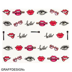Nailart - Sticker / Wassersticker / Tattoo / One Stroke / Kussmund - 702-BN-579