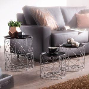 FineBuy Design Beistelltisch 3er Set aus Körben Schwarz / Silber | Moderne Korbtische mit abnehmbaren Tablett | Satztisch 3-teilig mit Stauraum