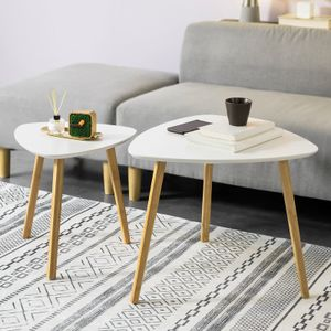 SoBuy 2er Set Beistelltisch mit Ablagen Couchtisch Sofatisch Kaffeetisch Satztisch Bambus Weiß/Natur FBT74-W