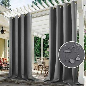 2er-Set Outdoor Vorhang Gardinen Verdunkelungsvorhang Blickdicht, Garten Patio Balkon Wasserdicht Sonnenschutz & Sichtschutz Outdoorvorhäng (132*213cm, Dunkelgrau)