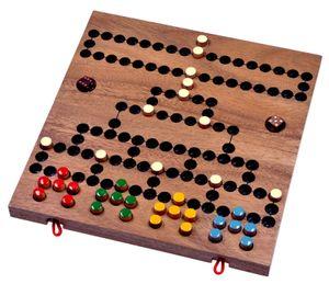 Blockade für 4 Spieler - 2. Wahl - Spielfeld 26 x 27 cm - Würfelspiel - Strategiespiel - Gesellschaftsspiel - Brettspiel aus Holz mit zusammenklappbarem Spielbrett