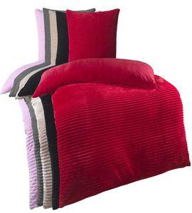 Kuscheli® Winter Wende Plüsch Bettwäsche 135 x 200 od. 155 x 220 mit 80x80 Kissenbezug Cashmere-Touch  Deckenbezug , Farbe:ROT, Größe:135x200 + 80x80