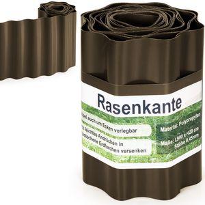 Rasenkante 9m Beeteinfassung Beetumrandung Rasenbegrenzung Mähkante Kunststoff, Farbe:braun