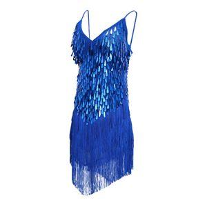 Frauen Latin Ballroom Dance Kostüm Pailletten Quaste Schlinge Rock dunkelblau Kleid Paillette Navy blau wie beschrieben