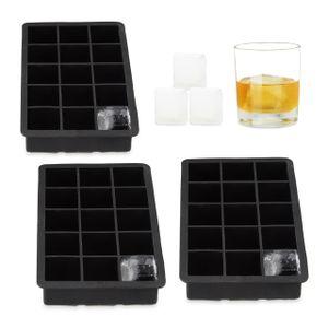 relaxdays 3x Eiswürfelform Silikon Eiswürfelbehälter schwarz 3,5 cm Eiswürfel Eisbehälter