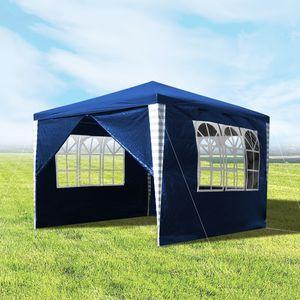 Hengda 3x3m Pavillons, Gartenpavillon mit 4 Seitenteile UV-Schutz inkl. Zubehör, Partyzelt Blau für Garten, Terrasse, Party, Markt