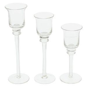 3er Set Glas Kerzenständer, Windlicht Kelch, Teelichthalter