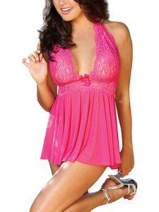 Frauen sexy Dessous Spitze Nachthemd Babydoll Nachtwäsche Nachthemd Rüschen rückenfrei