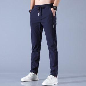 Morydal Schnelltrocknende Herrenhose mit geradem Bein und mehreren Taschen lockere atmungsaktive Kordelzughose,Farbe: Blau,Größe:32