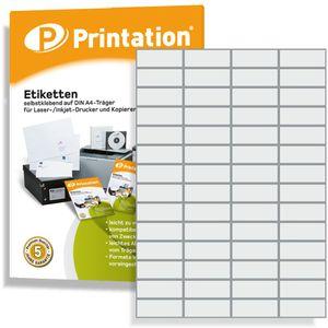 Printation Universal Etiketten 52,5 x 21,2 mm weiß selbstklebend bedruckbar - 5600 Stück auf 100 DIN A4 Bogen á 4x14 52,5x21,2 Labels - 3668 4273 5053 5080 LA110