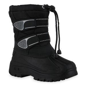 Mytrendshoe Kinder Warm Gefütterte Winter Boots Bequeme Stiefel Schuhe 836183, Farbe: Schwarz, Größe: 29