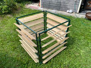 Elmato 14874 Komposter Holz/Metall grün, erweiterbar, Steckmodell Fichte 100x100x100cm