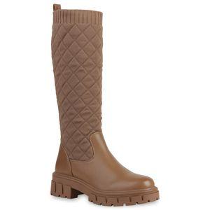 VAN HILL Damen Plateaustiefel Plateau Vorne Stiefel Gesteppte Strick Schuhe 837675, Farbe: Khaki, Größe: 39