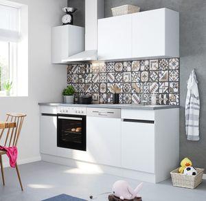 Küchenblock Mika 210 cm mit Einbauspüle ohne Elektrogeräte in weiß (Geschirrspüler geeignet)