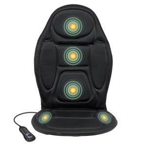 ECD Germany Massagesitzauflage mit 5 Massageprogramme Massageauflage mit Vibration Autositzauflage für Schulter Rücken Taillie, Oberschenkel - Massagematte Massagegerät Sitzheizung mit Wärmefunktion