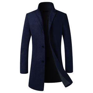 Herren Warme Wolle Coat Wintermantel Jacke Herrenmantel Winterjacke Farbe: Navy blau Größe: M