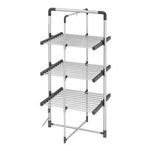 Black & Decker Aluminium Wäscheständer mit Heizung - 3 Ebenen - Trockengestell, Wäscheturm, Kleiderstange - Schwarz/Silber - 143 x 71 cm