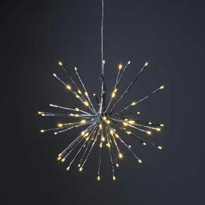 3D-LED-Hängestern 'Firework' - D: 40cm - silber mit 80 warmweißen LED - Programme - Outdoor