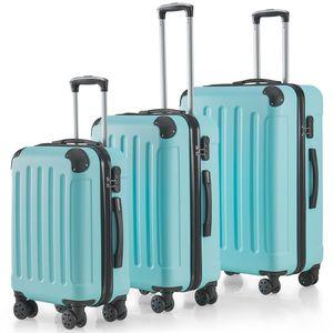 Juskys Hartschalen-Koffer Set Yara 3-teilig – 3 Trolley mit Schloss, Griff und 360° Rollen – Reisekoffer Hartschale leicht mint grün