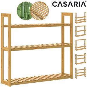 Casaria Wandregal Standregal Badregal Bambus 3 Ablagen Höhenverstellbar 54x60x15cm Schweberegal Hängeregal Bad Küche Regal Holz