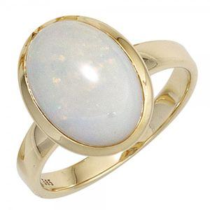 JOBO Damen Ring 585 Gold Gelbgold 1 Opal Goldring Größe 56