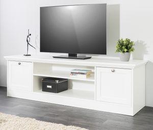 TV-Lowboard weiß Landhaus Flat TV Unterschrank 160 x 48 cm Landwood