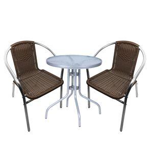 Bistro Sitzgarnitur Bistrogarnitur 3-teilig Silber/Mokka