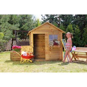 Kinderspielhaus Spielhaus Holz Gartenhaus Spielhütte aus Holz für Kinder - (3668)