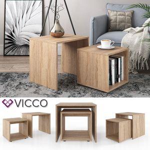 Vicco Couchtisch Beistelltisch Set Sonoma Eiche Wohnzimmer Sofatisch Tisch