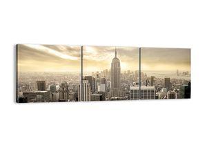 "Leinwandbild - 150x50 cm - ""New York aus grau gewebt""- Wandbilder - New York Stadt  - Arttor - CA150x50-2630"