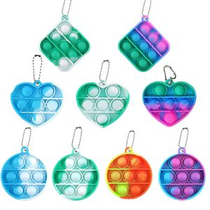 9 Stück Pop It Fidgets, Mini Push Pop it Bubble Fidget Spielzeug Schlüsselanhänger Pack, Stressabbau und Angstlösende Spielzeuge