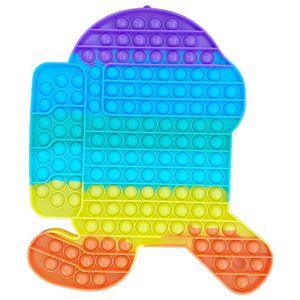 Große Regenbogenfarben Push Pop It Pop Bubble Spielzeug,Verwendet für Autismus, Stress Abzubauen Braucht zappeln Spielzeug(Among us B)