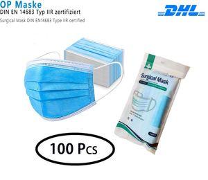 100x OP Maske Medizinische Schutzmasken Einwegmasken 3-lagig Hygienemaske Atemschutz Mundschutzmaske (Blau)