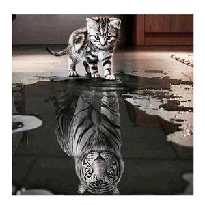 DIY Diamond Painting Kit Cat & Tiger Crystal Rhinestone Room Decor